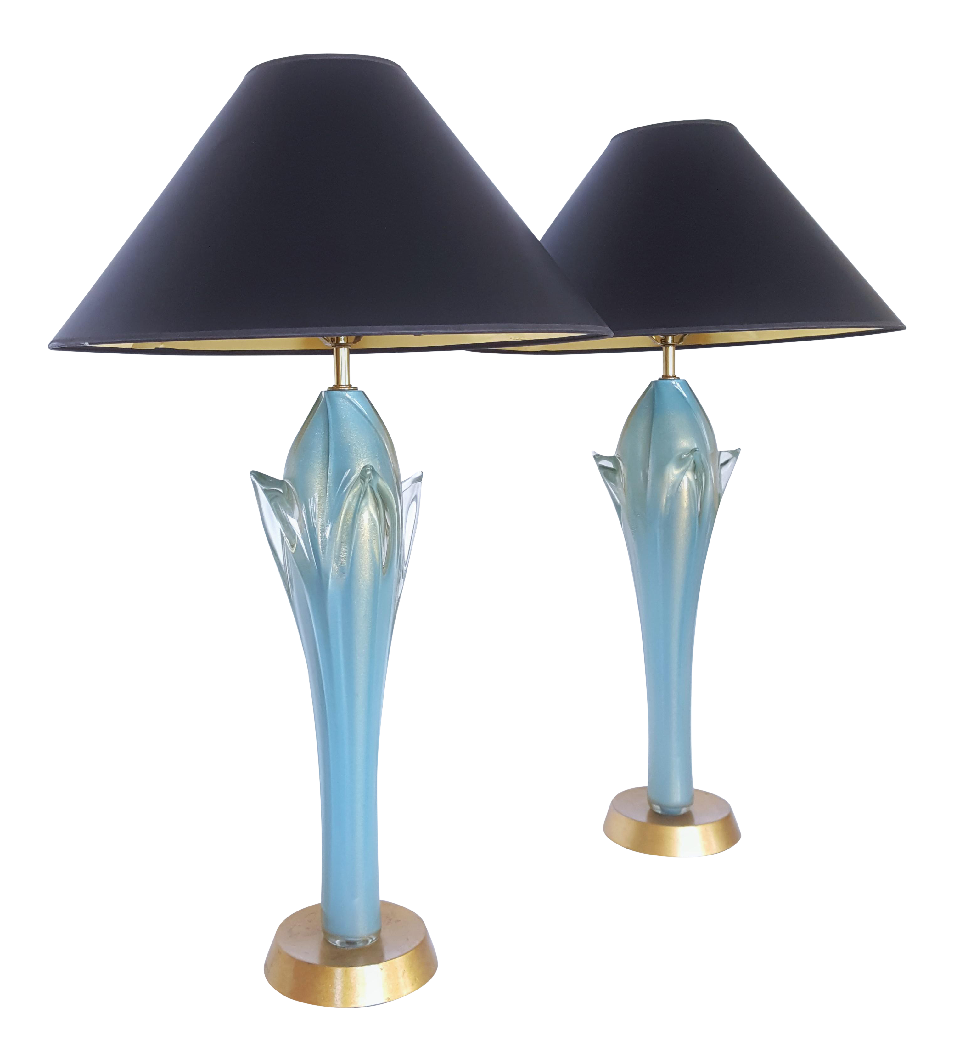 1950s Monumental Light Blue And Gold Antique Italian Murano Glass Table  Lamps   A Pair