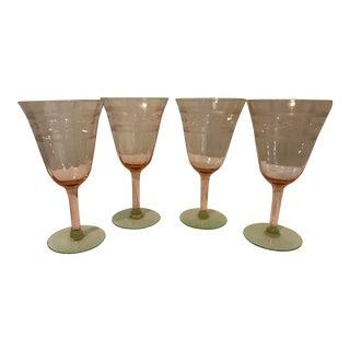 Pink & Green Crystal Goblets - Set of 4 For Sale