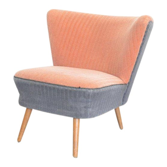 1950s Danish Cocktail Pink & Grey Lounge Chair For Sale