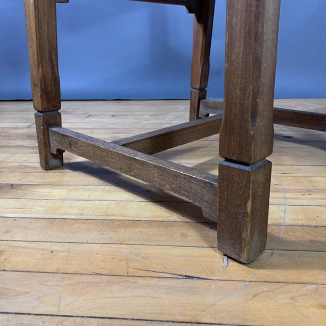 Four French 1940s Saddle Leather & Oak Dining Chairs For Sale - Image 12 of 13