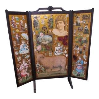 19th Century Victorian Folk Art Panel Folding Screen Divider For Sale