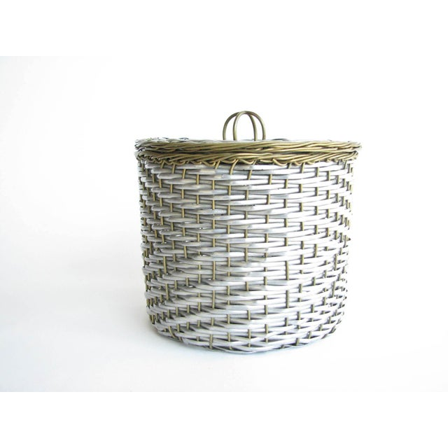 French Vintage Woven Two-Tone Metal Wire Lidded Basket For Sale - Image 3 of 11