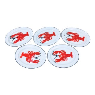 Vintage Enamelware Lobster Plates - Set of 5