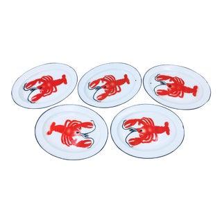 Vintage Enamelware Lobster Plates - Set of 5