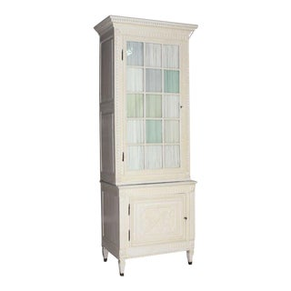 White Faux Painted Finish 2 Piece Cupboard Vitrine For Sale