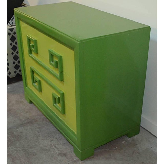 Mid-Century Modern Green Kittinger Two-Tone Greek Key Chests - A Pair For Sale - Image 3 of 9