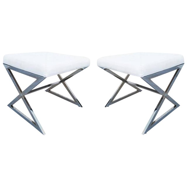Pair of Chrome X-Base Stools in the Manner of Milo Baughman For Sale