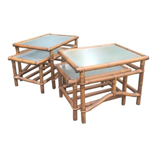 1970s Boho Chic Ficks Reed Rattan End Table Set - 4 Pieces For Sale