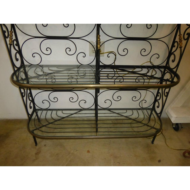 Brass Vintage Baker's Rack Solid Wrought Iron W Solid Brass Hardware Bookcase For Sale - Image 7 of 11