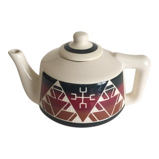Vintage Native American Sioux Hand Painted Etched Ceramic Teapot For Sale