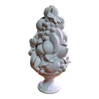 1970s Italian White Porcelain Fruit Topiary Tree Centerpiece For Sale