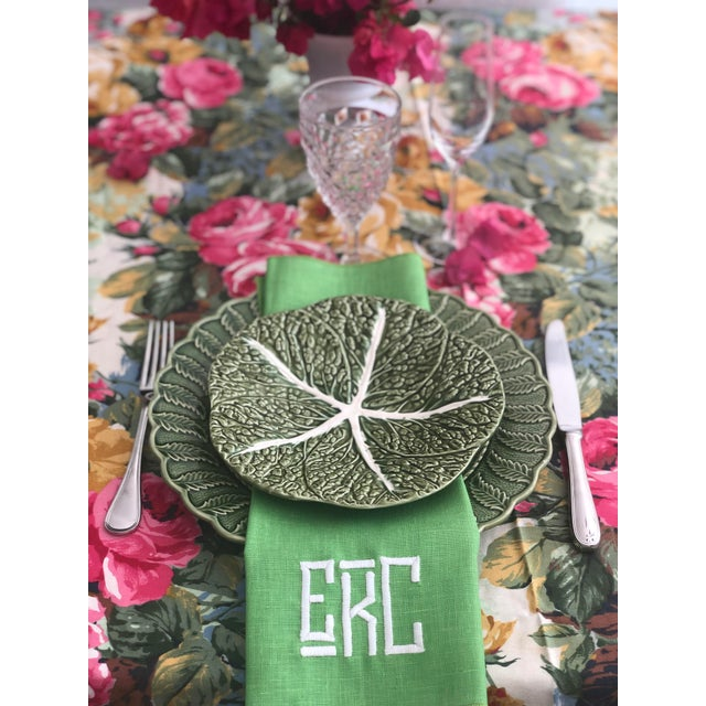 1990s 1990s Kelly Green Monogrammed Napkins, For Sale - Image 5 of 6