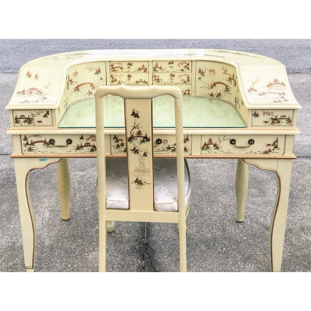 1980s Chinese Jasper Cabinet Company Hand Painted Desk Vanity & Chair - 2 Pieces For Sale - Image 4 of 4