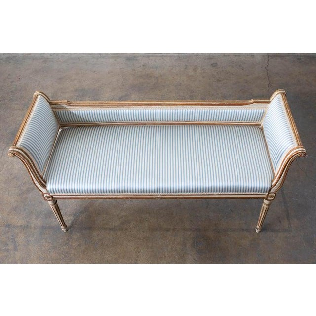 French Louis XVI Style Painted Window Bench Banquette For Sale In San Francisco - Image 6 of 13