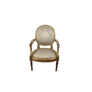 Vintage Louis XVI Style French Gilt Chair For Sale