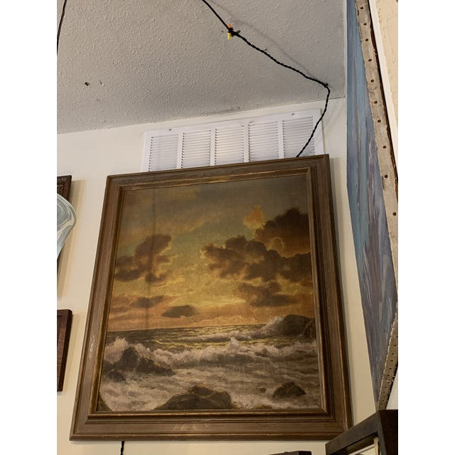 Vintage Mid-Century Framed Sunset Seascape Oil on Canvas Painting For Sale - Image 4 of 6