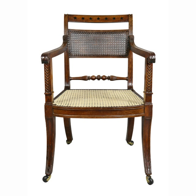 Regency Mahogany and Ebony Inlaid Armchair For Sale - Image 13 of 13