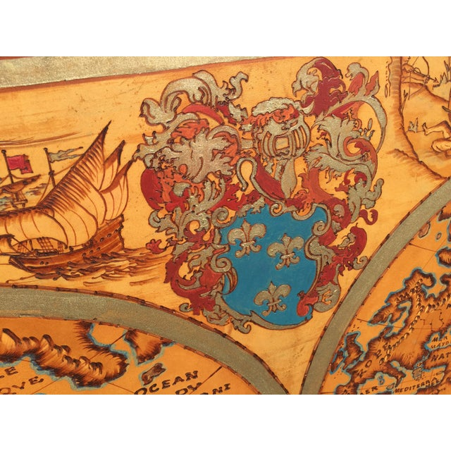 """Wood Large Hand Painted Map of the World 1613 Nova Totivs Terrarvm 64"""" For Sale - Image 7 of 9"""