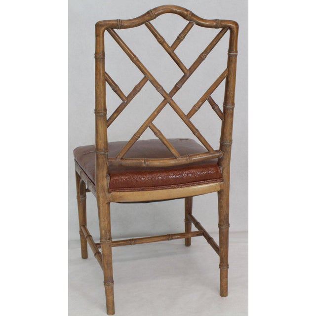 Set of Four Carved Faux Bamboo Dining Chairs For Sale In New York - Image 6 of 9