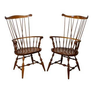 Nichols & Stone Windsor Style Arm Chairs - A Pair