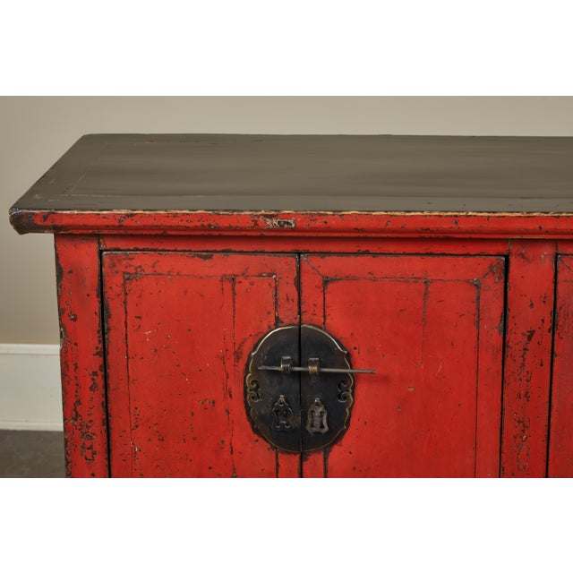 18th Century Chinese Elm 4-Door Side Cabinet For Sale In Los Angeles - Image 6 of 11