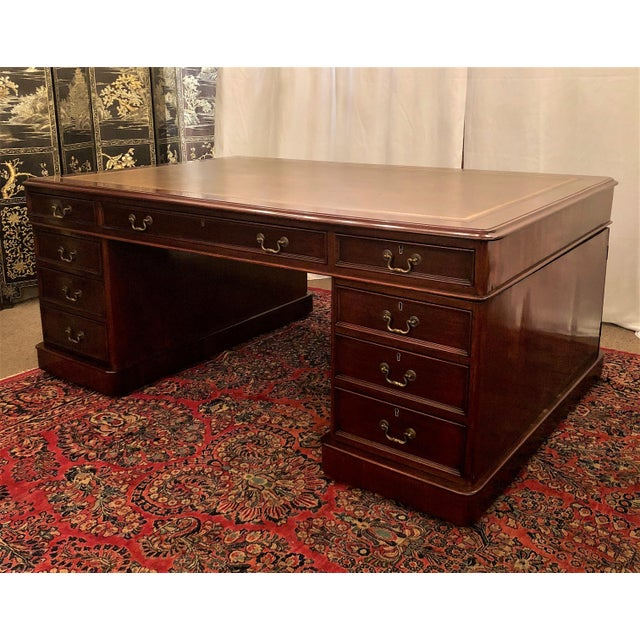 Late 19th Century Antique English Mahogany Partner's Desk. For Sale - Image 5 of 9
