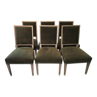 Green Velvet Leighton Dining Chairs - Set of 6 For Sale