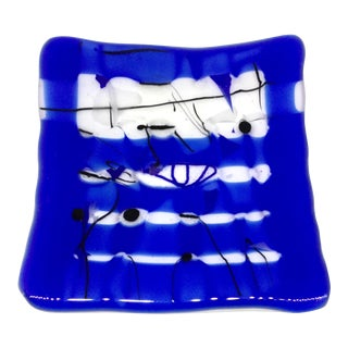 Cobalt Art Glass Curved Tray Trinket Dish For Sale