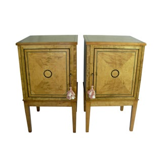 20th Century Neoclassical Style Maple Bedside Table Cabinets - a Pair For Sale