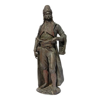 Antique Cast Iron Arab Warrior Sculpture For Sale