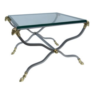 C.1960s-70s Hollywood Regency Italian Brass, Steel and Glass X-Frame, Side Table, Attr. To Maison Jansen For Sale
