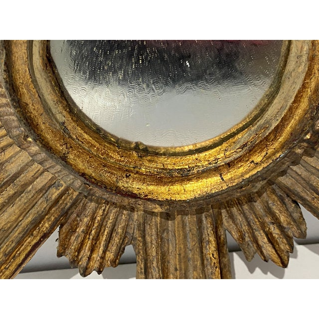 Mid-Century Florentine Giltwood Sunburst Antiqued Mirror For Sale In West Palm - Image 6 of 11