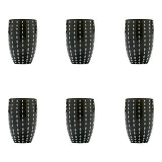 Perle Tumbler in Black - Set of 6 For Sale