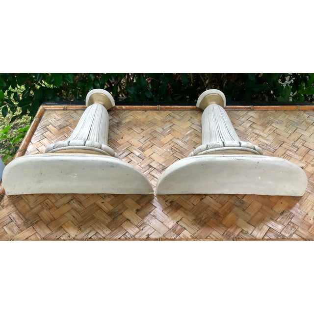 Paint Neoclassical Hollywood Regency Gilt Plaster Wall Shelf Bracket Corbels - a Pair For Sale - Image 7 of 12