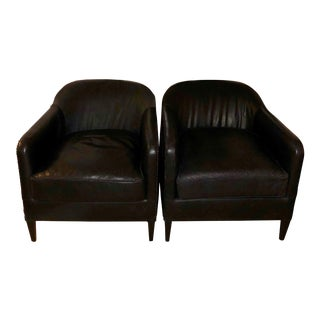 Restoration Hardware French Tuxedo Leather Club Chairs - A Pair