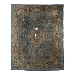 Vintage Mid-Century Hand Knotted Wool Persian Tabriz Rug - 9′9″ × 12′2″ For Sale