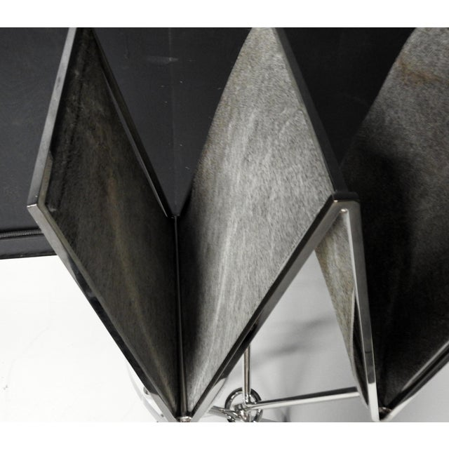 Chrome and Hide Zig Zag Magazine Rack - Image 3 of 6