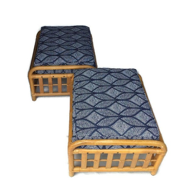 1970s Vintage Oversized Bamboo Ottomans Low Stools - a Pair For Sale - Image 12 of 13
