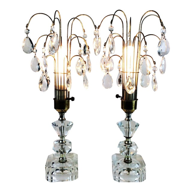 Art Deco Crystal Prism Glass Waterfall Boudoir Table Lamps A Pair