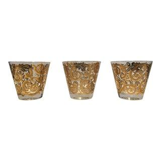 1960s Culver Ltd Signed 22k Gold Old Fashioned /Rock Glasses - Set of 3 For Sale