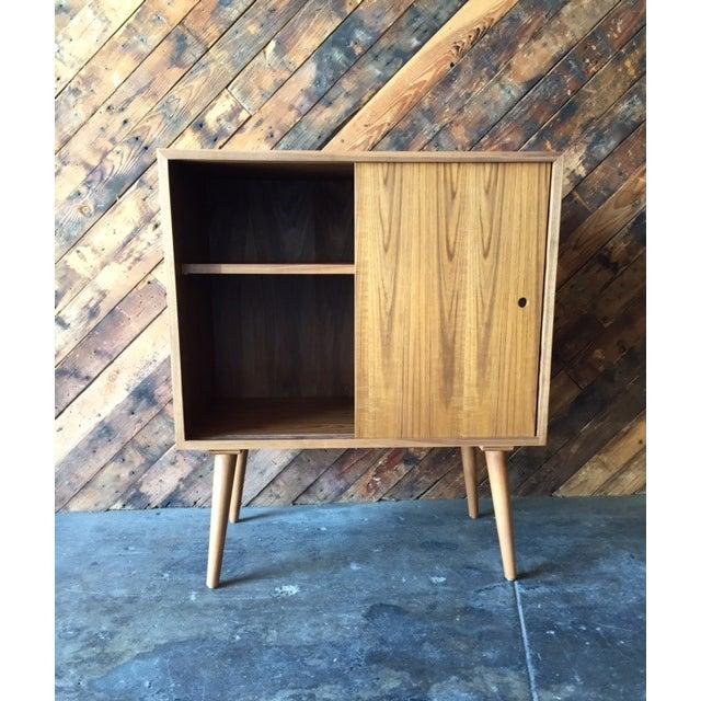 Teak Mid-Century-Style Teak Record Cabinet For Sale - Image 7 of 8