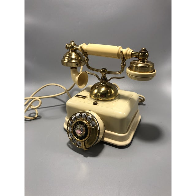Cream Mid-Century Electric Dial Phone 1950s Circa For Sale - Image 8 of 8
