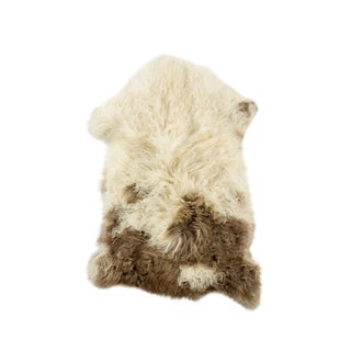 "Long Wool Sheepskin Pelt, Handmade Rug 2'0""x2'8"" For Sale"
