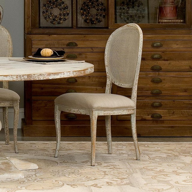 Abrella Oval Back Beige & White Dining Chairs - Set of 4 - Image 4 of 4