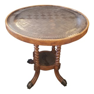 Round Metal Embossed Game Table For Sale