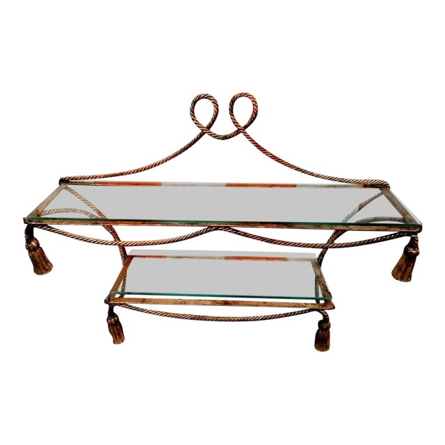 Hollywood Regency Wrought Iron Gold Gilt and Tassel Wall Double Shelf For Sale