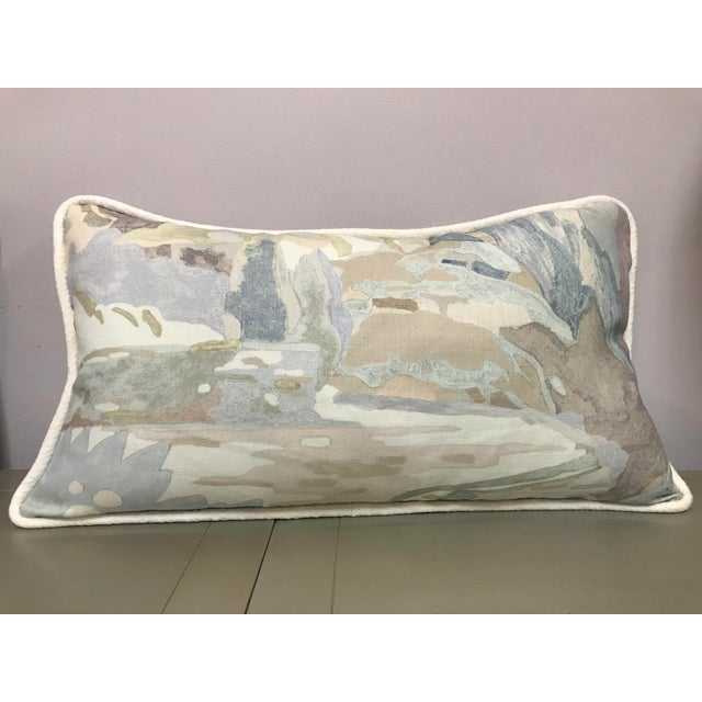 Contemporary Beacon Hill Decorative Pillows Soo Locks Frost Pattern on Linen Lumbar Pillows - a Pair For Sale - Image 3 of 9