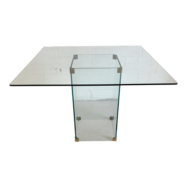 Pace Collection Square Glass Dining Table For Sale