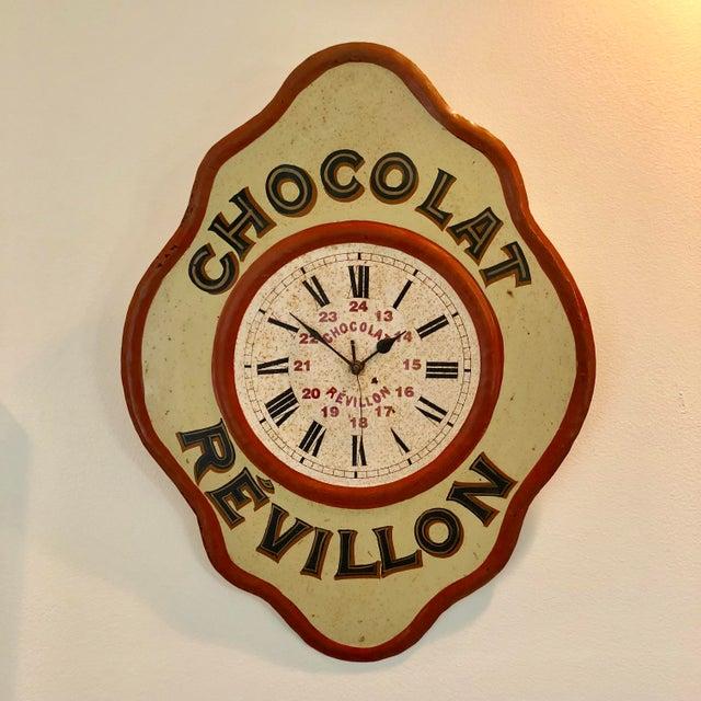 Vintage Tolework Chocolate Revillon Clock For Sale - Image 10 of 10