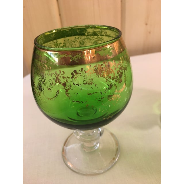 Mid-Century Modern Emerald Green Goblets - Set of 5 For Sale - Image 9 of 10